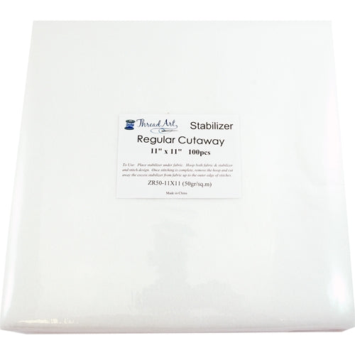 Regular Cutaway Embroidery Backing Stabilizer - 11x11 100 Precut Sheets
