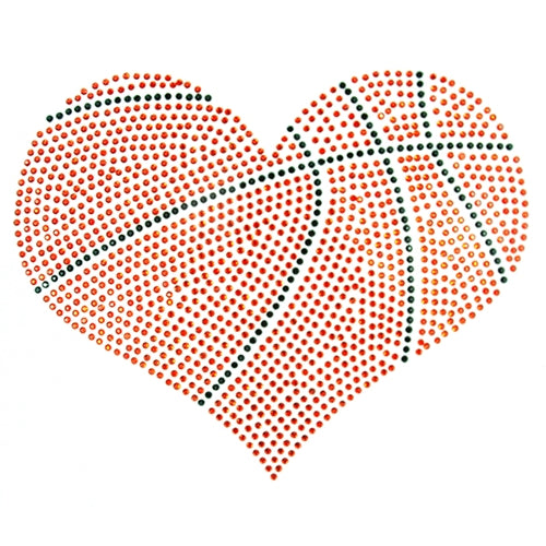 Hot Fix Rhinestone Heat Transfer Motif Basketball Heart - Threadart.com