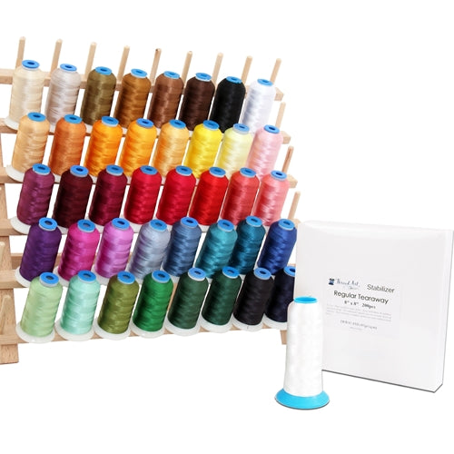 40 Color Embroidery Machine Starter Bundle With Thread, Rack, Stabilizer, & Bobbins - Threadart.com