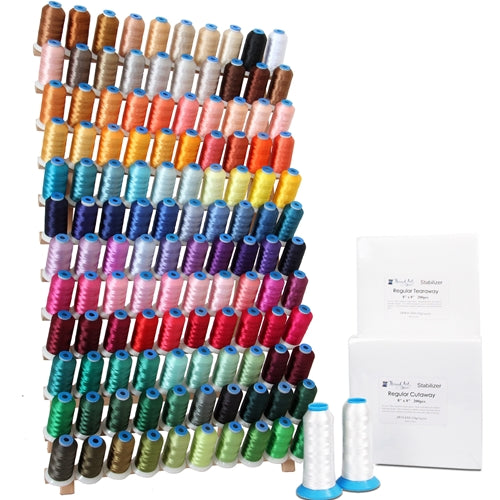 120 Color Embroidery Machine Starter Bundle With Thread, Rack, Stabilizer, & Bobbins - Threadart.com