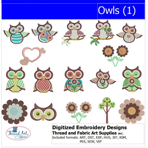 Machine Embroidery Designs - Owls(1) - Threadart.com