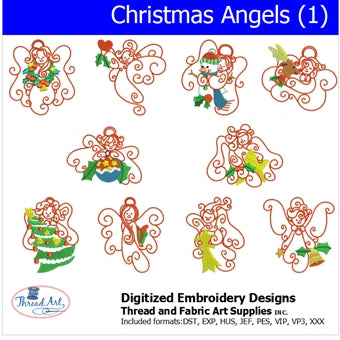 Machine Embroidery Designs - Christmas Angels (1) - Threadart.com