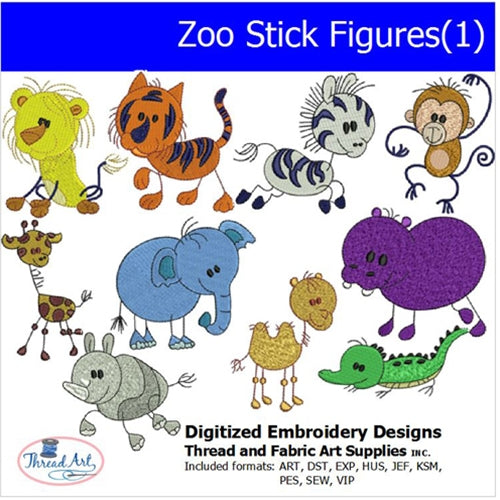 Machine Embroidery Designs - Zoo Stick Figures(1) - Threadart.com