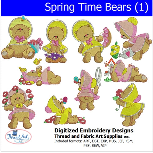Machine Embroidery Designs - Spring Time Bears (1) - Threadart.com