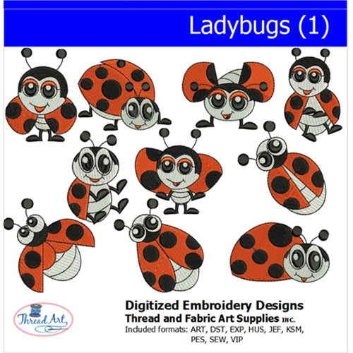 Machine Embroidery Designs - Ladybugs (1) - Threadart.com
