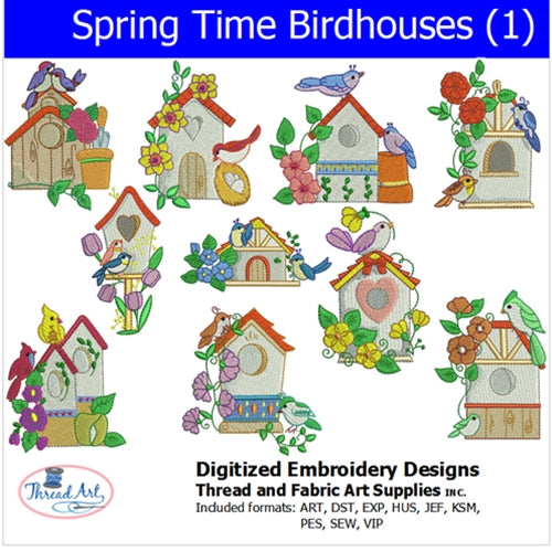 Machine Embroidery Designs - Spring Time Birdhouses (1) - Threadart.com