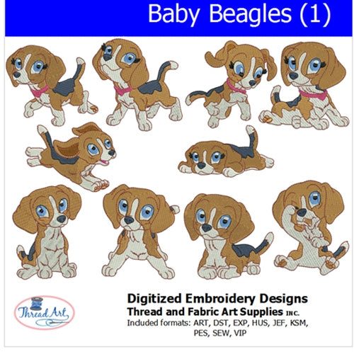 Machine Embroidery Designs - Baby Beagles (1) - Threadart.com