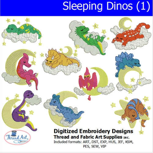 Machine Embroidery Designs - Sleeping Dinos (1) - Threadart.com