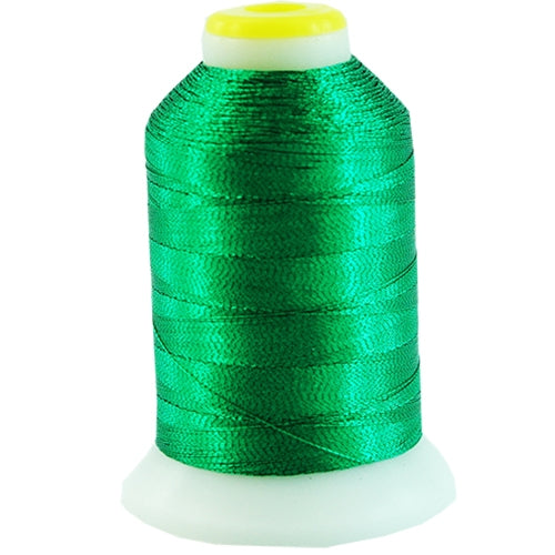 Metallic Thread - No. L65 - Bright Green - 500 Meter Cones - Threadart.com