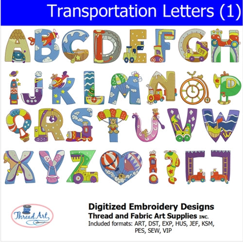 Machine Embroidery Designs - Transportation Alphabet(1) - Threadart.com