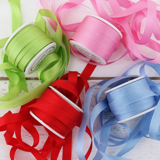 7mm Silk Ribbon Set - Bright Colors - Four Spool Collection - Threadart.com