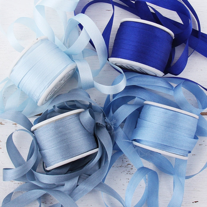 7mm Silk Ribbon Set - Blue Shades - Four Spool Collection - Threadart.com