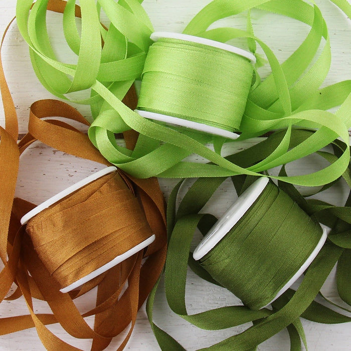 7mm Silk Ribbon Set - Nature Shades - Three Spool Collection - Threadart.com
