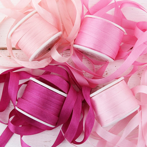 7mm Silk Ribbon Set - Pink Shades - Four Spool Collection - Threadart.com