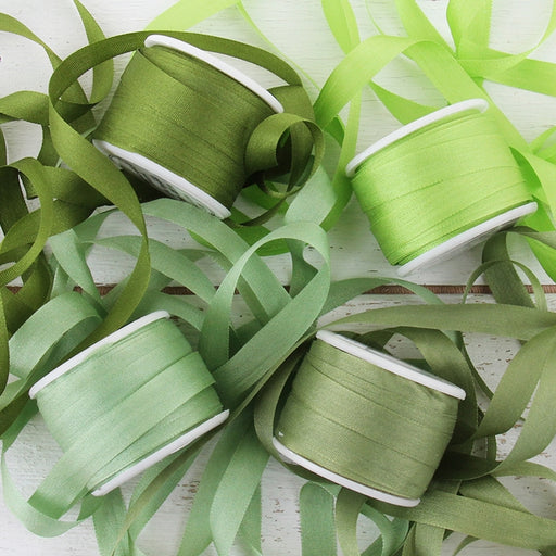 7mm Silk Ribbon Set - Green Shades - Four Spool Collection - Threadart.com