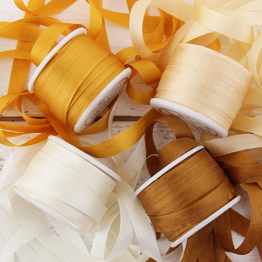7mm Silk Ribbon Set - Warm Colors - Four Spool Collection - Threadart.com