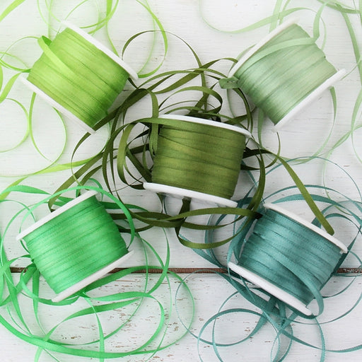 2mm Silk Ribbon Set - Green Shades - Five Spool Collection - Threadart.com