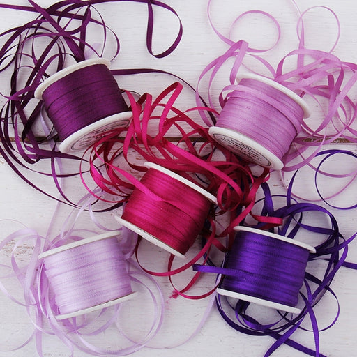 2mm Silk Ribbon Set - Purple Shades - Five Spool Collection - Threadart.com