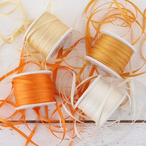 2mm Silk Ribbon Set - Orange Shades - Four Spool Collection - Threadart.com
