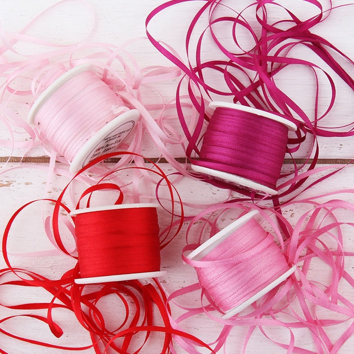 2mm Silk Ribbon Set - Red/Pink Shades - Four Spool Collection - Threadart.com