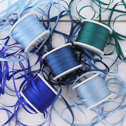 2mm Silk Ribbon Set - Blue Shades - Five Spool Collection - Threadart.com