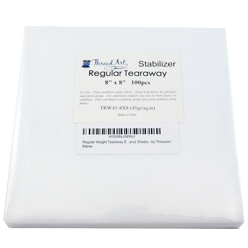 Regular Tearaway Embroidery Backing Stabilizer - 8x8 100 Precut Sheets - Threadart.com