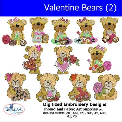 Machine Embroidery Designs - Valentine Bears(2 - Threadart.com