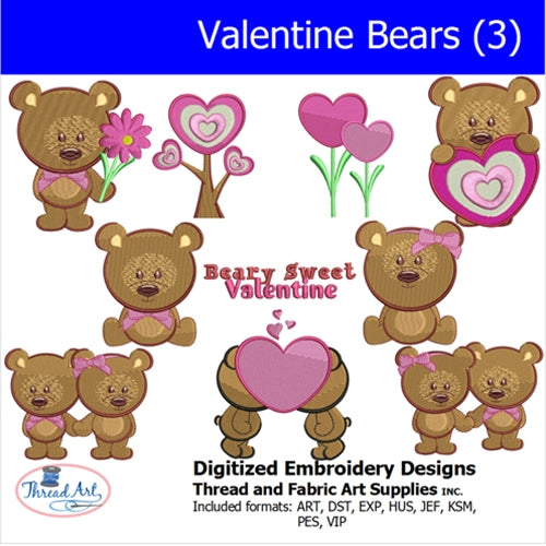 Machine Embroidery Designs - Valentine Bears(3) - Threadart.com