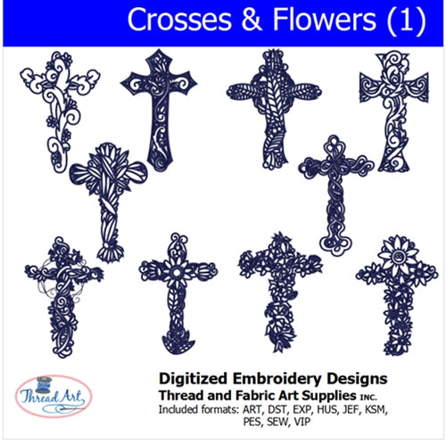Machine Embroidery Designs - Crosses & Flowers(1) - Threadart.com
