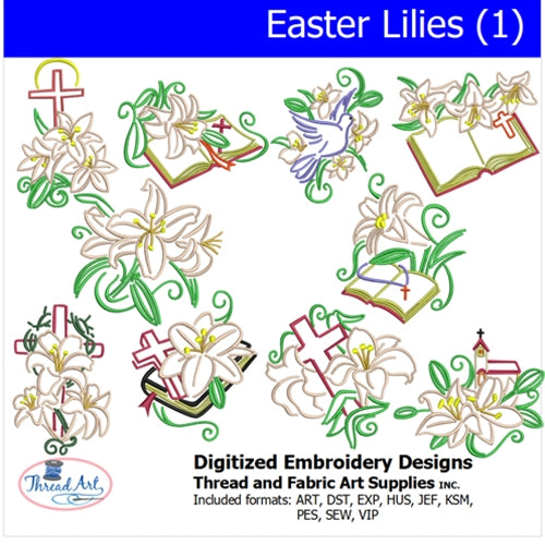 Machine Embroidery Designs - Easter Lilies(1) - Threadart.com