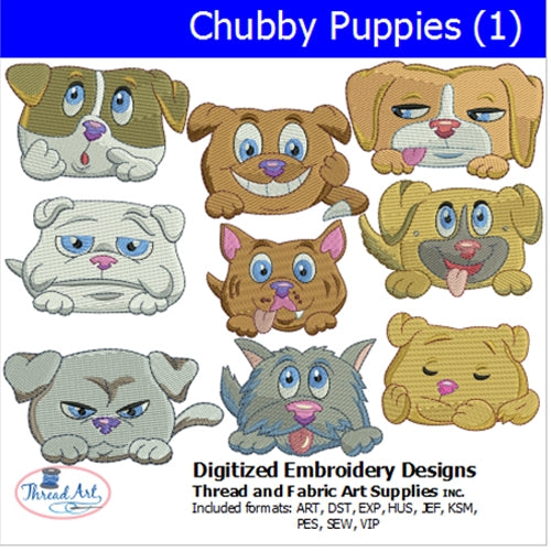 Machine Embroidery Designs - Chubby Puppies(1) - Threadart.com