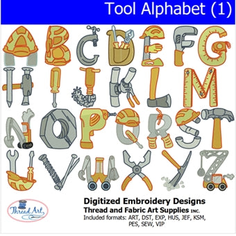 Machine Embroidery Designs - Tool Alphabet (1) - Threadart.com