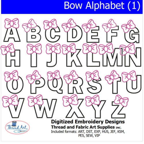 Machine Embroidery Designs -Bow Alphabet (1) - Threadart.com