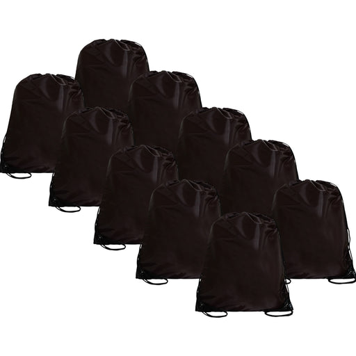 10 Drawstring Tote Bags - Black - Threadart.com