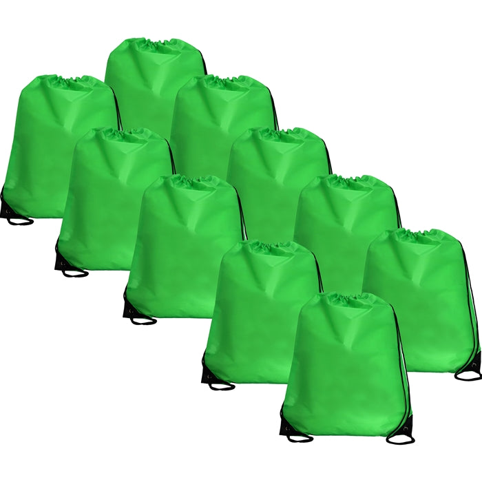 10 Drawstring Tote Bags - Lime Green - Threadart.com