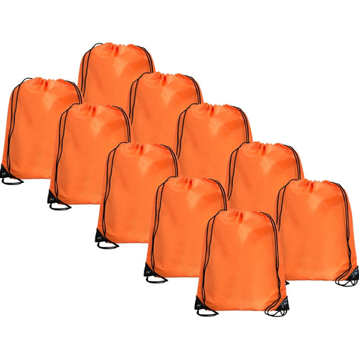 10 Drawstring Tote Bags - Orange - Threadart.com