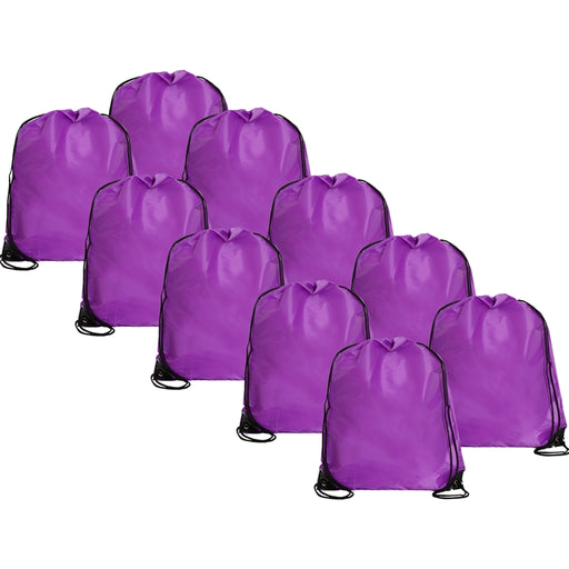 10 Drawstring Tote Bags - Purple - Threadart.com