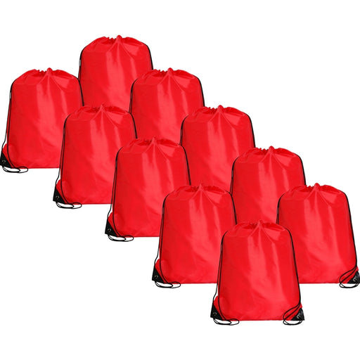 10 Drawstring Tote Bags - Red - Threadart.com