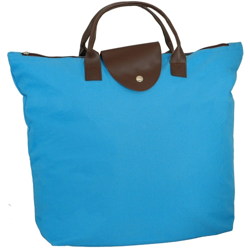 Foldable Shopping Bag Oxford - Aqua - Threadart.com