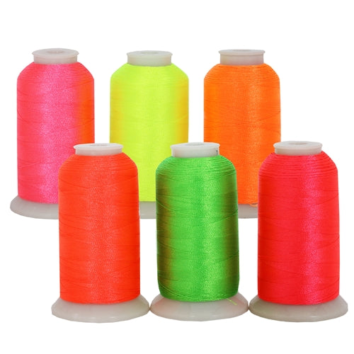 Neon Colors Polyester Embroidery Thread 6 Spool Set - Threadart.com