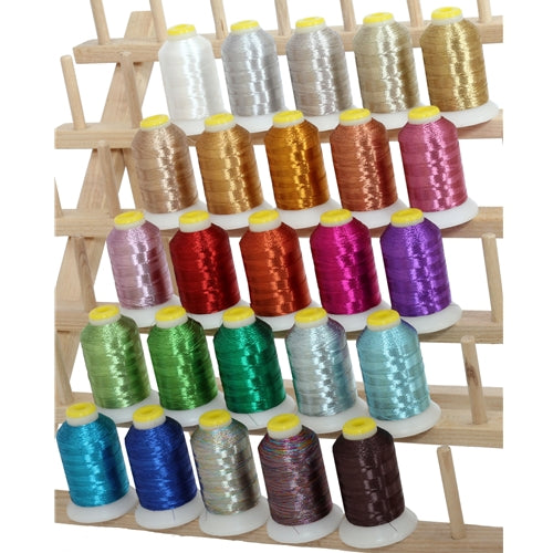 25 Cones of Metallic Thread - 500 Meter Cones - Threadart.com