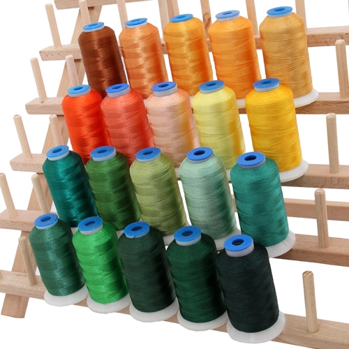 20 Colors of Rayon Thread - Yellow & Green Colors - Threadart.com