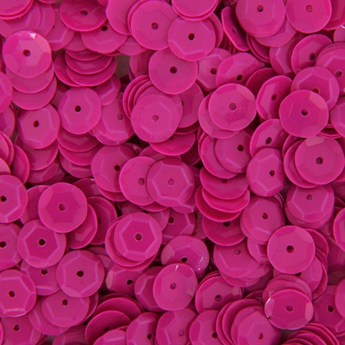 Loose Cup Neon Sequins - 6mm - Magenta - 5 Gross - Threadart.com