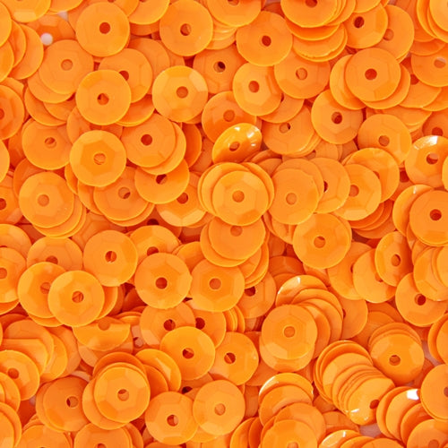 Loose Cup Neon Sequins - 6mm - Orange - 5 Gross - Threadart.com