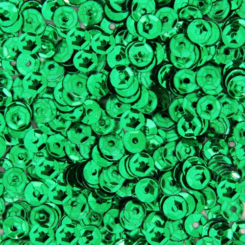 Loose Cup Metallic Sequins - 4mm - Green - 5 Gross - Threadart.com