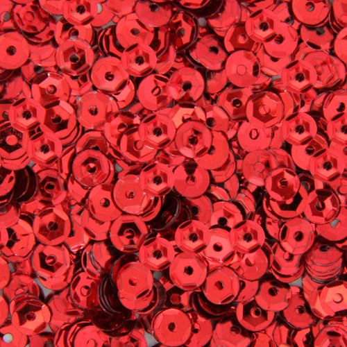 Loose Cup Metallic Sequins - 4mm - Red - 5 Gross - Threadart.com
