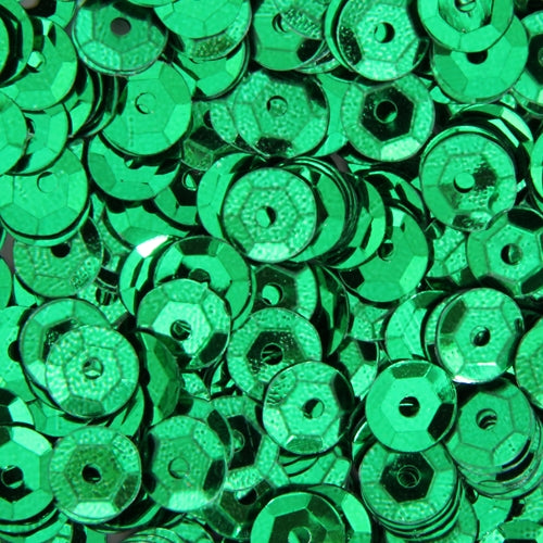 Loose Cup Metallic Sequins - 6mm - Green - 5 Gross - Threadart.com