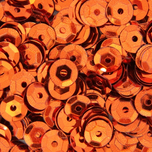 Loose Cup Metallic Sequins - 6mm - Orange - 5 Gross - Threadart.com