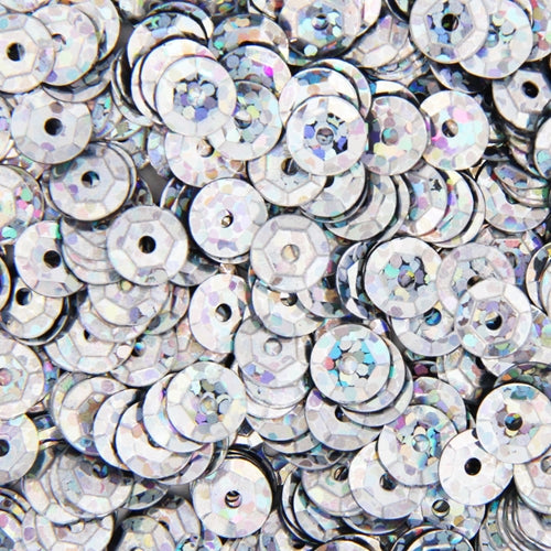 Loose Cup Hologram Sequins - 6mm - Silver - 5 Gross - Threadart.com