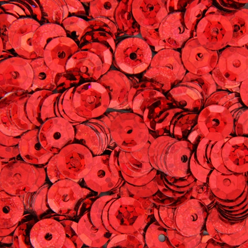 Loose Cup Hologram Sequins - 6mm - Red - 5 Gross - Threadart.com